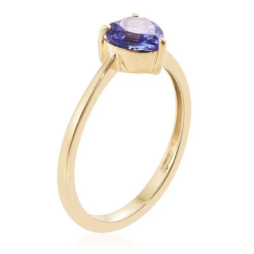9K Yellow Gold AA 1 Ct Tanzanite Heart Solitaire Ring
