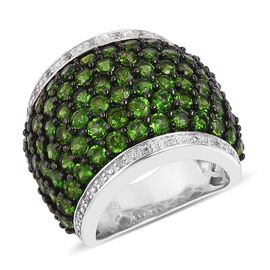 5.95 Ct Russian Diopside and Natural White Cambodian Zircon Cluster Ring in Black and White Rhodium Plated Silver 11.45 gms