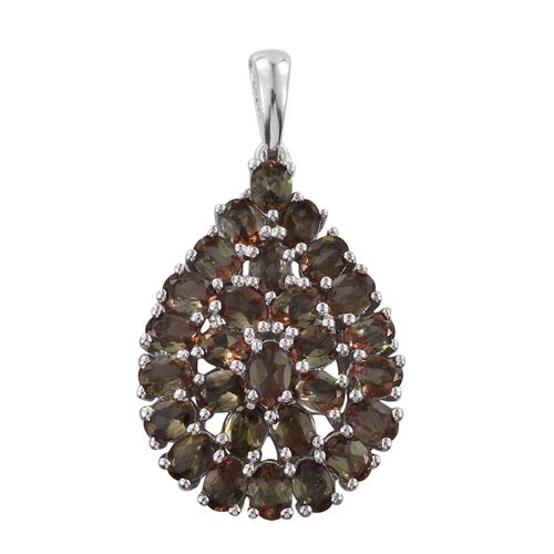 Jenipapo Andalusite (Ovl) Cluster Pendant in Platinum Overlay Sterling Silver 4.750 Ct.