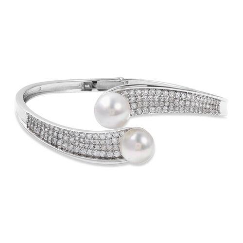 White South Sea Pearl and Zircon Cuff Bangle in Rhodium Plated Silver 18.50 Grams 7.5 Inch