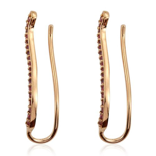 Mahenge Spinel (Rnd) Climber Earrings in 14K Gold Overlay Sterling Silver 0.750 Ct.