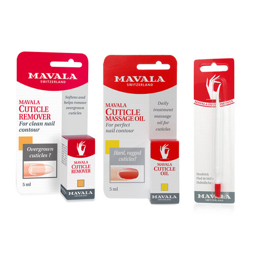 Mavala: Cuticle Care Kit: Cuticle Remover -5ml, Cuticle Oil -5ml & Hoof Stick (With File, Cuticle Stick & Free Polish - 5ml)