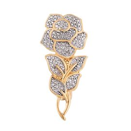 Diamond Eternal Rose Floral Brooch in Gold Plated Sterling Silver 4 Grams