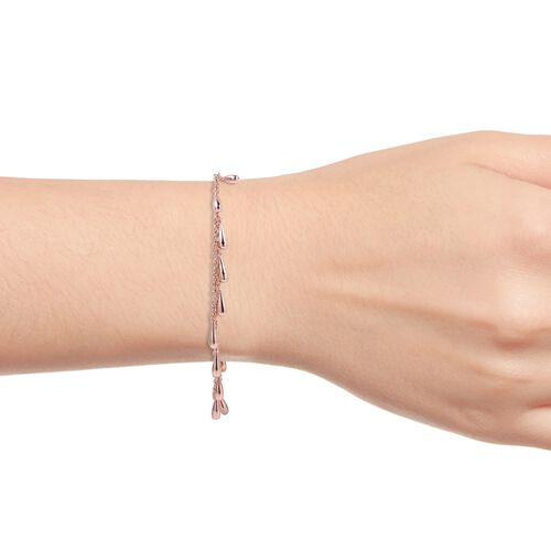 LucyQ Multi Drip Bracelet (Size 8) in Rose Gold Plated Sterling Silver, Sterling Silver 10.90 Gms