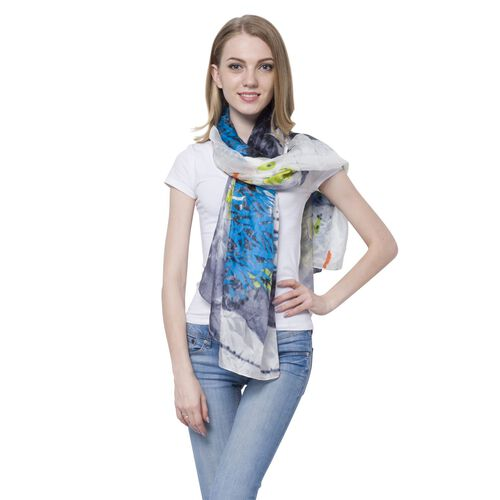 100% Mulberry Silk Blue, Grey, Green and Multi Colour Lotus Flower Pattern Scarf (Size 170x110 Cm)