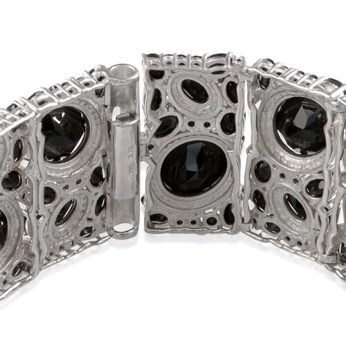 Boi Ploi Black Spinel (Ovl), Diamond Bracelet (Size 8) in Platinum Overlay Sterling Silver 100.020 Ct.
