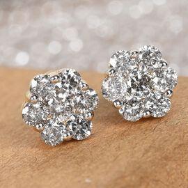9K White Gold SGL Certified Pressure Set Diamond (I3/G-H) Stud Earrings 1.00 Ct.