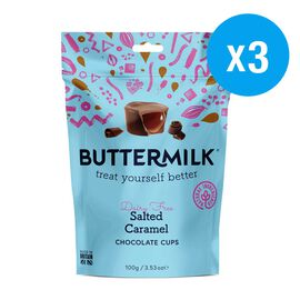Buttermilk 3x100g Dairy Free Salted Caramel Cups (Set of 3)