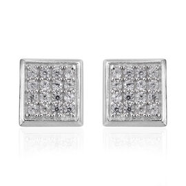 Natural White Cambodian Zircon (Rnd) Earrings (with Push Back) Platinum Overlay Sterling Silver   0.