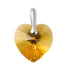 J Francis - Crystal from Swarovski Sunflower Colour Crystal Heart Pendant in Sterling Silver