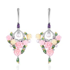 Jardin Collection Mother of Pearl and Multi Gemstone Floral Drop Earrings in Rhodium Plated Silver