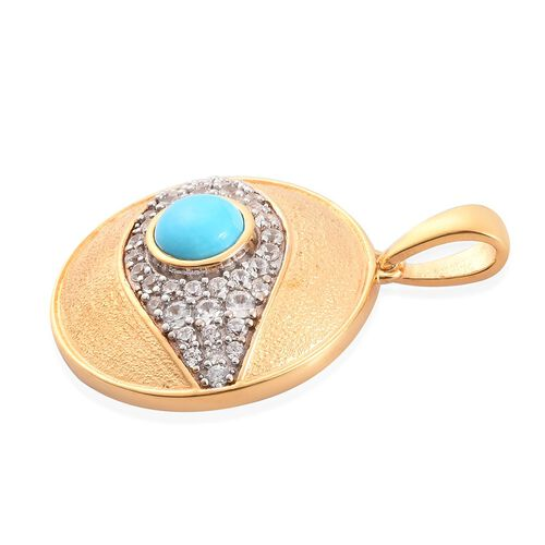 Arizona Sleeping Beauty Turquoise, Natural Cambodian Zircon Pendant in 14K Gold Overlay Sterling Silver 1.75  Ct.