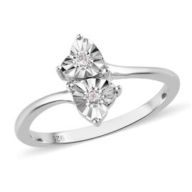 Diamond Heart Bypass Ring in Platinum Overlay Sterling Silver