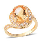 Brazilian Citrine (Ovl 11x9 mm), Natural White Cambodian Zircon Ring (Size O) in Yellow Gold Overlay Sterling