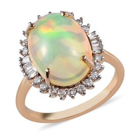 4.65 Ct Ethiopian Welo Opal and Diamond Halo Ring in 9K Yellow Gold I3H
