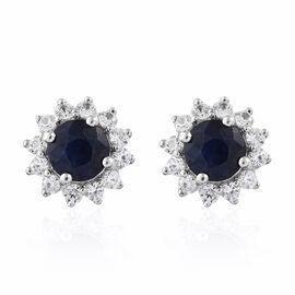 Madagascar  Blue Sapphire (Rnd), Natural Cambodian Zircon Stud Earrings (with Push Back) in Platinum