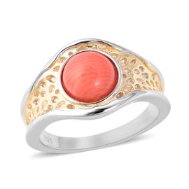 Living Coral (Rnd 8 mm) Ring in Two Tone Sterling Silver