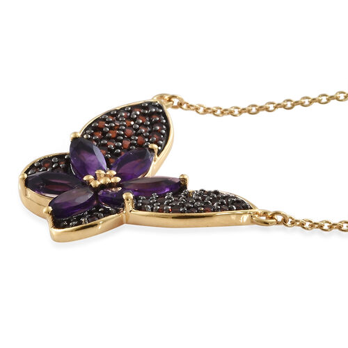 GP Amethyst (Mrq), Mozambique Garnet, Kanchnaburi Blue Sapphire Necklace With Chain (Size 18) in 14K Gold Overlay and Black Plating Sterling Silver 4.500 Ct, Silver wt 6.00 Gms.