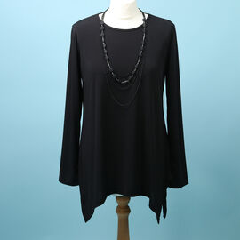 Pure and Natural Soft Long Sleeve Top with Matching 30 Inch Necklace in Black (Length:70cm)