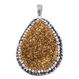 Gold Colour Plated Drusy Quartz (Pear), Hematite Colour Austrian Crystal and White Austrian Crystal