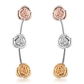 Platinum, Yellow and Rose Gold Overlay Sterling Silver Climber Earrings