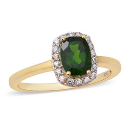 Russian Diopside and Natural Cambodian White Zircon Halo Ring in Gold Overlay Sterling Silver 1.870
