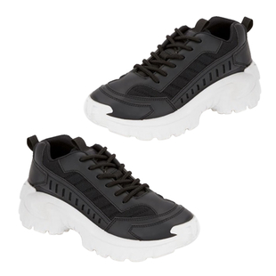 Black Lace-Up Chunky Trainers (Size 3)
