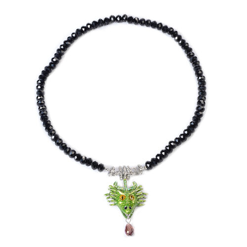 Multi Colour Austrian Crystal and Simulated Black Spinel Dragon Enamelled Detachable with Magnet Pen