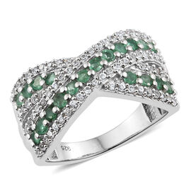 AA Kagem Zambian Emerald (Rnd), Natural Cambodian Zircon Criss Cross Ring in Platinum Overlay Sterli
