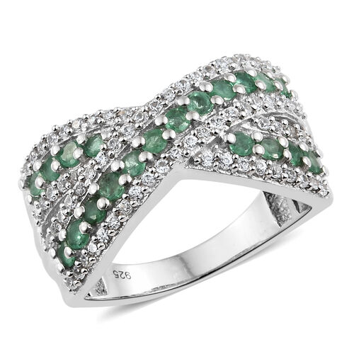 1.50 Ct AA Kagem Zambian Emerald and Natural Cambodian Zircon Criss Cross Ring in Silver 6.12 grams