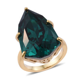Emerald Colour Crystal From Swarovski Solitaire Ring in Gold Plated Sterling Silver 5.35 Grams