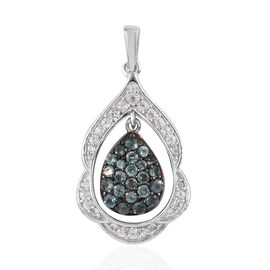 Alexandrite, Natural Cambodian Zircon Cluster Drop Pendant Platinum Overlay Sterling Silver 1.00 Ct.