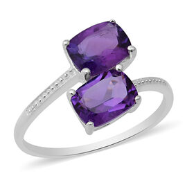 Amethyst (Cush 8x6mm) Bypass Ring in Sterling Silver 2.62 Ct.