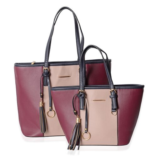 2 Piece Set - Pink and Burgundy Colour Tote Bag with Tassel (Size 41x35x30x12 and 36x23x22x12 Cm)