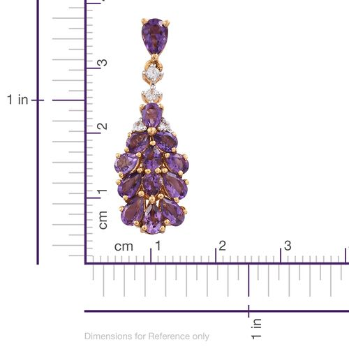 GP Amethyst (Pear), Natural Cambodian Zircon and Kanchanaburi Blue Sapphire Earrings (with Push Back) in 14K Gold Overlay Sterling Silver 5.000 Ct.