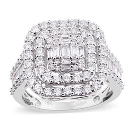 ILIANA 2 Ct Diamond Cluster Ring in 18K White Gold IGI Certified SI G-H