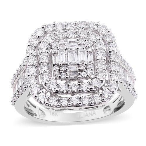 ILIANA 2 Ct Diamond Cluster Ring in 18K White Gold IGI Certified SI G-H