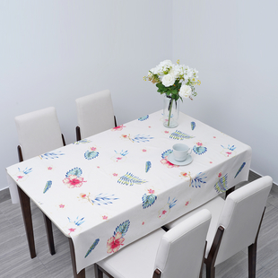 100% Waterproof PVC Table Cloth with Hibiscus Floral and Leaves Pattern (Size 200x137cm) - Cream & M