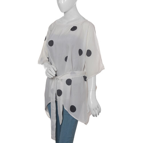 Designer Inspired- Limited Available- 100% Modal - White and Black Colour Dots Pattern Top/Kaftan (Free Size)