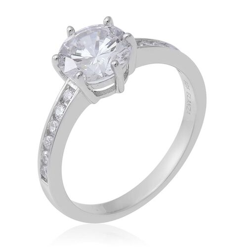ELANZA Simulated Diamond (Rnd) Ring in Rhodium Overlay Sterling Silver 3.92 Ct.