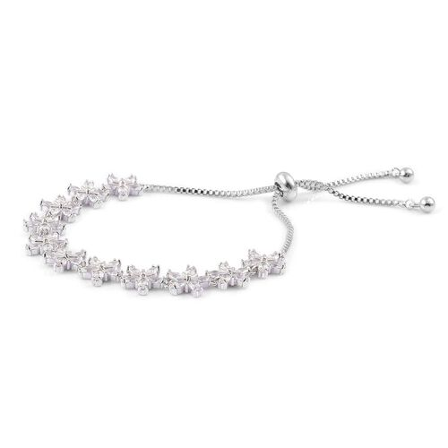 Designer Inspired - AAA Simulated White Diamond Adjustable Floral Bracelet (Size 6.5-9) Silver Plated