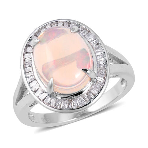 3.07 Ct Ethiopian Opal and Diamond Halo Ring in Sterling Silver 6.2 Grams