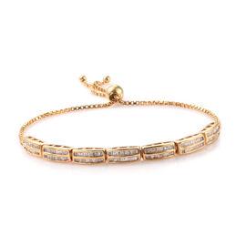Diamond (Bgt) Bracelet (Size 6.5 - 9.5 Adjustable) in 14K Gold Overlay Sterling Silver 1.010 Ct, Silver wt 8.00 Gms,