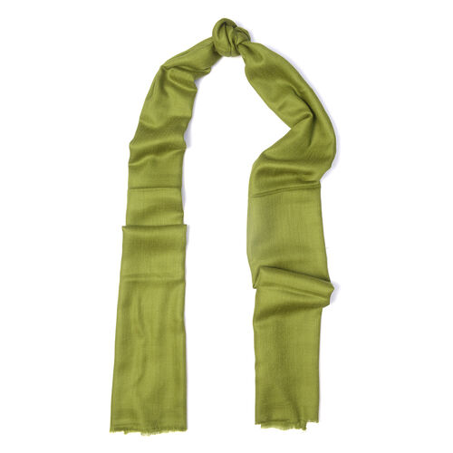 100% Cashmere Wool Olive Green Colour Ultra Soft Scarf (Size 200X70 Cm)