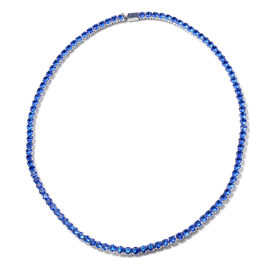 Simulated Blue Sapphire Tennis Necklace (Size 17) in Silver Tone
