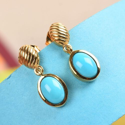 Arizona Sleeping Beauty Turquoise Drop Earrings (with Push Back) in 14K Gold Overlay Sterling Silver 1.25 Ct.