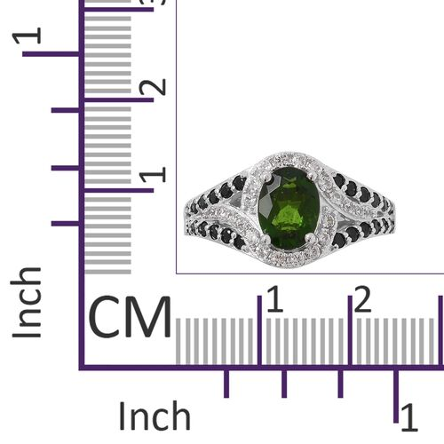 Russian Diopside (Ovl 1.25 Ct), Boi Ploi Black Spinel, Natural White Cambodian Zircon Ring in Rhodium Overlay Sterling Silver 2.105 Ct.