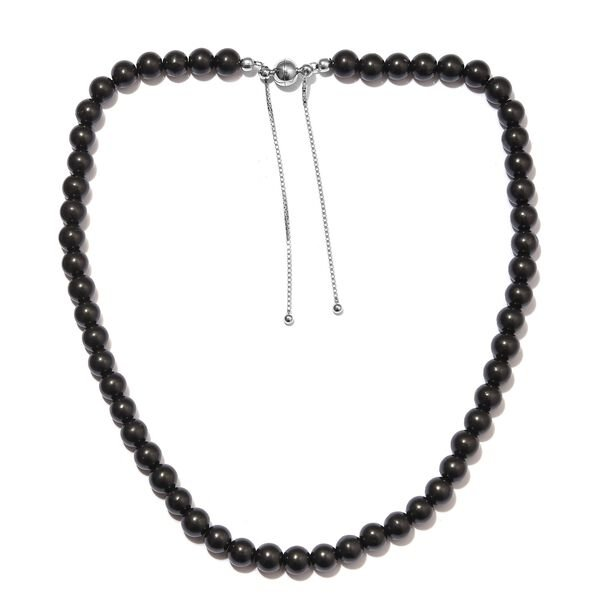 175 Ct Shungite Beaded Adjustable Necklace in Rhodium Plated Silver 18 Inch