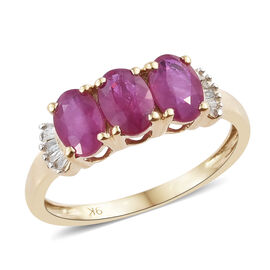 Signature Collection - 9K Yellow Gold AAAA Burmese Ruby (Ovl), Diamond Ring 1.720 Ct.