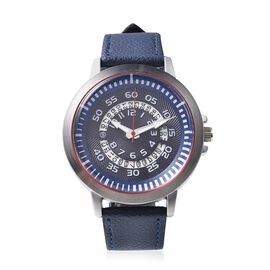 STRADA Japanese Movement Water Resistance Watch with Date in Stainless Steel - Navy Blue